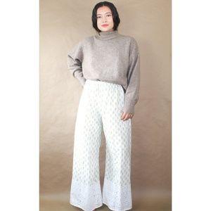 (188) vtg 90s light eyelet cotton wide leg pants